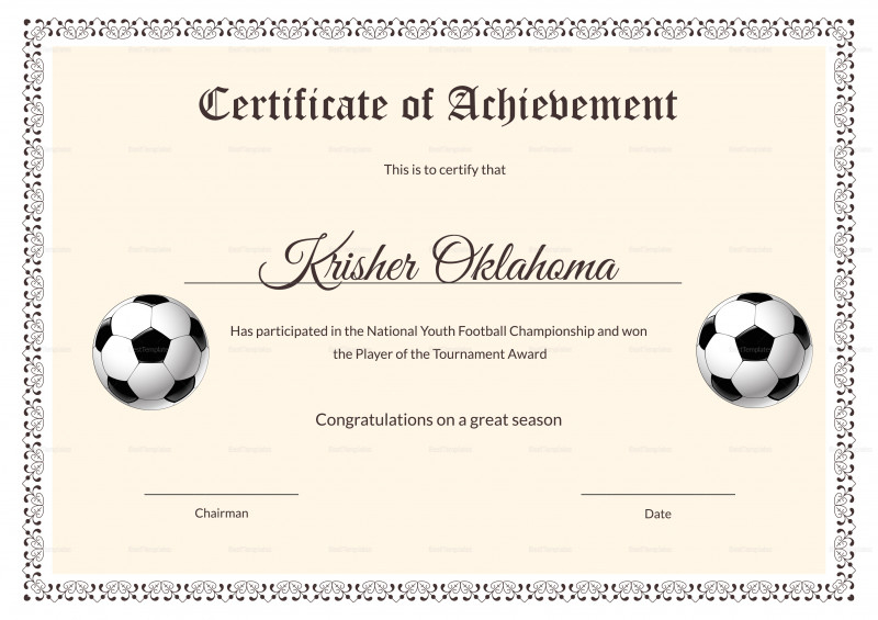 Pin On Certificate Templates intended for Football Certificate Template