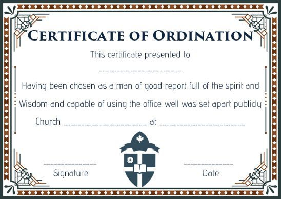 Pin On Free Download intended for Ordination Certificate Template
