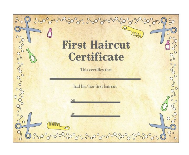 Pin On Haircut inside New First Haircut Certificate Printable Free 9 Designs