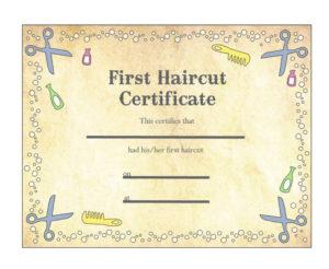Pin On Haircut regarding First Haircut Certificate