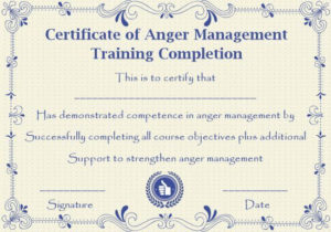 Pin On Libros with regard to New Anger Management Certificate Template