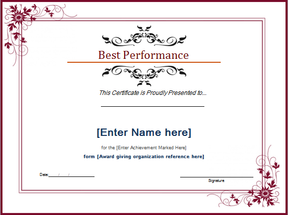 Pin On Microsoft Templates with regard to Best Performance Certificate Template