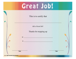 Pin On Outstanding Award throughout Quality Good Job Certificate Template Free