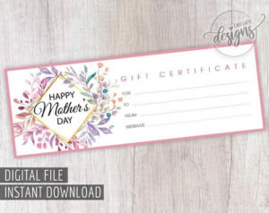 Pin On Printable Gift Certificate for Mothers Day Gift Certificate Template