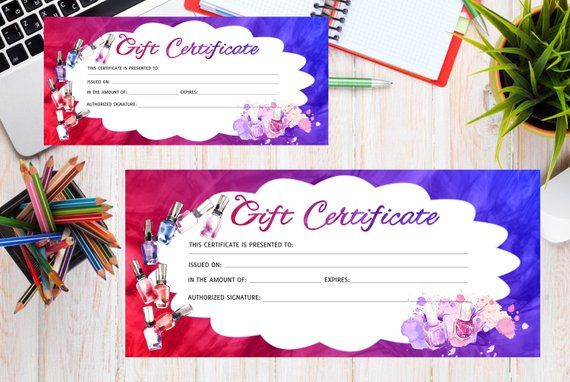 Pin On Products pertaining to Nail Salon Gift Certificate Template