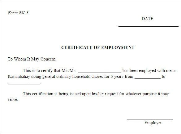 Pin On Sample Template Design intended for Template Of Certificate Of Employment
