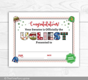 Pin On Ugly Sweater Party in Free Ugly Christmas Sweater Certificate Template