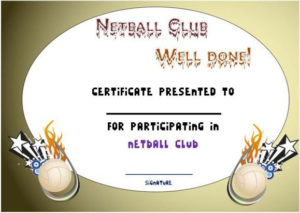 Pindemplates | Small Business Dig On Netball | Netball with Netball Participation Certificate Editable Templates