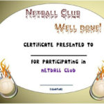 Pindemplates | Small Business Dig On Netball | Netball with Netball Participation Certificate Templates