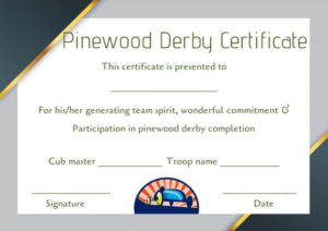 Pinewood Derby Certificate Template: 9 Certificates (All inside Unique Pinewood Derby Certificate Template
