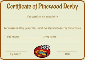 Pinewood Derby Certificate Template: 9 Certificates (All with regard to Pinewood Derby Certificate Template