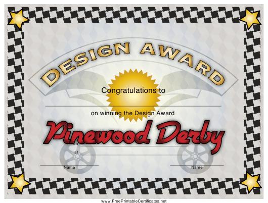 Pinewood Derby Design Award Certificate Template Download in Pinewood Derby Certificate Template