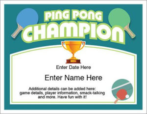 Ping Pong Certificate – Free Award Certificates   Ping Pong for Table Tennis Certificate Templates Editable