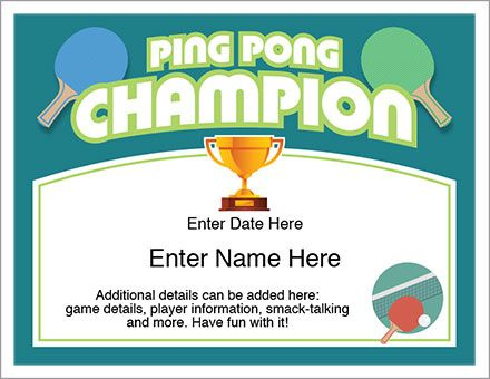 Ping Pong Certificate Template — Recognize The Champ In Your with regard to Best Table Tennis Certificate Template Free