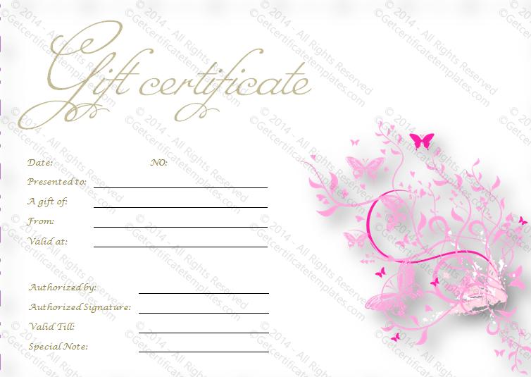 Pink Flies Gift Certificate Template pertaining to Best Pink Gift Certificate Template