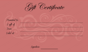 Pink Gift Certificate Template (2) – Templates Example for Pink Gift Certificate Template