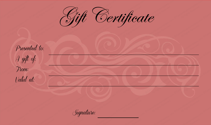 Pink Gift Certificate Template (2) - Templates Example for Pink Gift Certificate Template