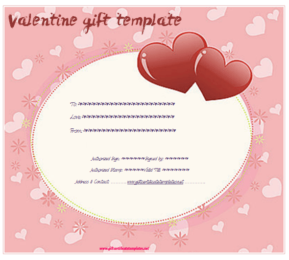 Pink Hearts Gift Certificate Template - Gift Certificates for Valentine Gift Certificate Template