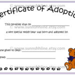 Pinrainbows And Sparkles On Projects To Try | Adoption Throughout New Amazing Teddy Bear Birth Certificate Templates Free
