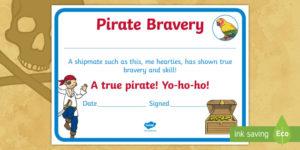 Pirate Bravery Certificate (Teacher Made) for Bravery Certificate Templates