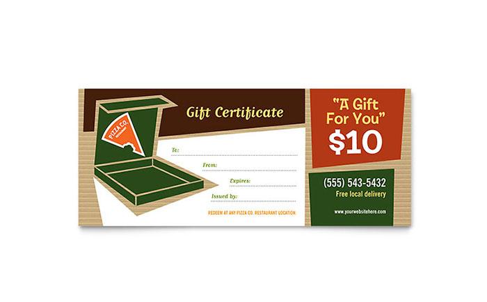 Pizza Pizzeria Restaurant Gift Certificate Template Design with Pizza Gift Certificate Template