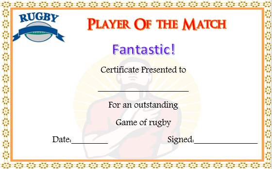 Player Of The Day Certificate Template (2) - Templates regarding Player Of The Day Certificate Template