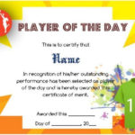 Player Of The Day Certificate Template | Certificate For Fresh Player Of The Day Certificate Template Free