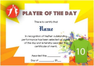 Player Of The Day Certificate Template   Certificate for Fresh Player Of The Day Certificate Template Free