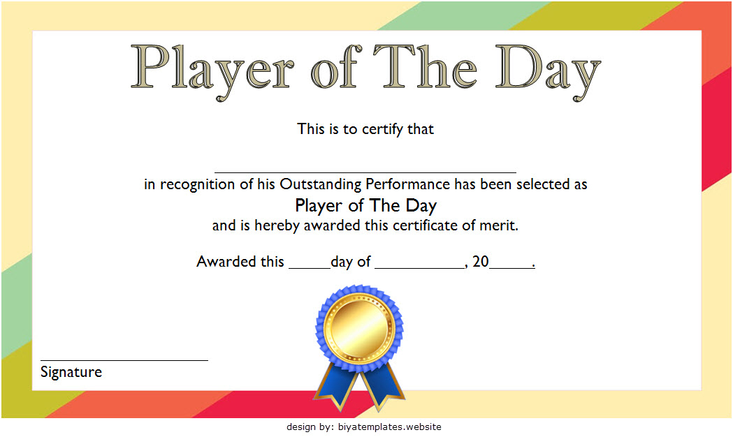 Player Of The Day Certificate Template Free Printable 2 For Fresh Player Of The Day Certificate Template Free