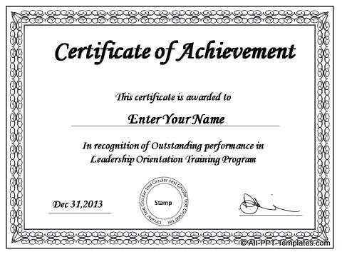 Powerpoint Award Certificate Template (7) - Templates intended for Physical Fitness Certificate Template 7 Ideas