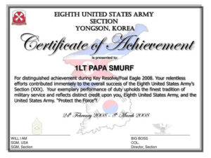 Ppt – Certificate Of Achievement Powerpoint Presentation with regard to Best Army Certificate Of Appreciation Template
