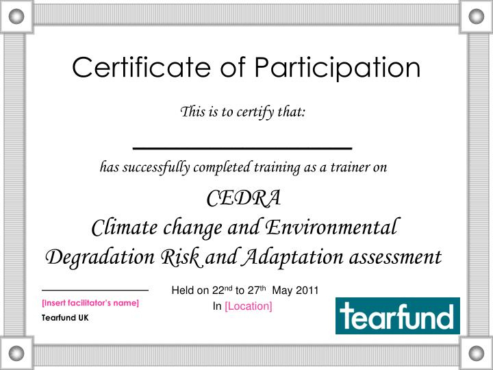 Ppt - Certificate Of Participation Powerpoint Presentation in New Certificate Of Participation Template Ppt