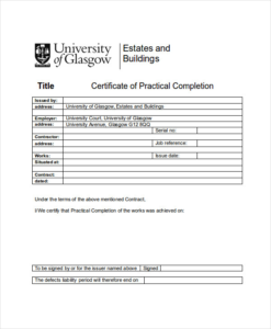 Practical Completion Certificate Template Uk (1) – Templates inside Construction Certificate Template 10 Docs Free