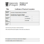Practical Completion Certificate Template Uk (1) - Templates pertaining to Practical Completion Certificate Template Uk