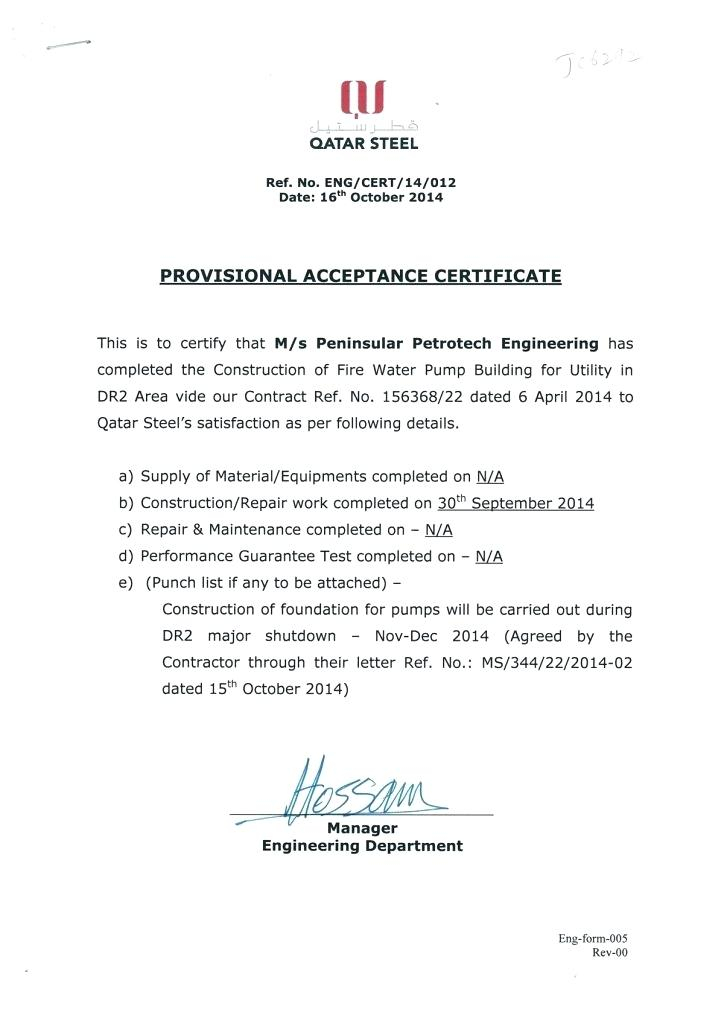 Practical Completion Certificate Template Uk (4) - Templates for Quality Certificate Of Acceptance Template