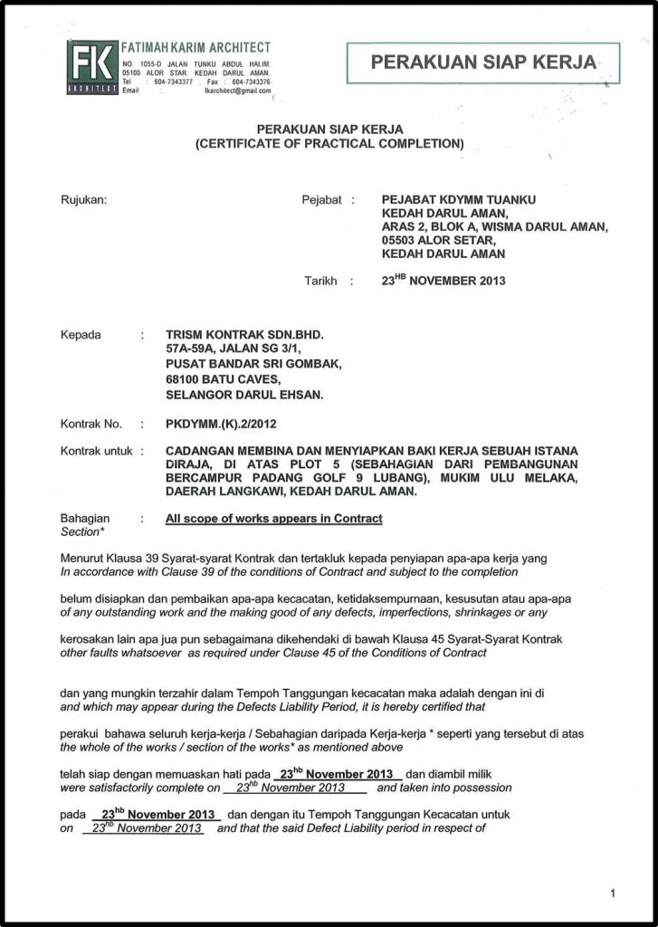 Practical Completion Certificate Template Uk (6) - Templates pertaining to Quality Practical Completion Certificate Template Uk