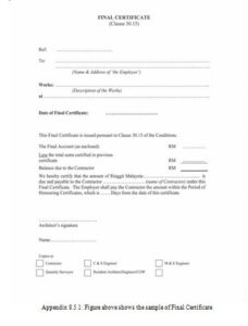 Practical Completion Certificate Template Uk   Certificate inside Quality Practical Completion Certificate Template Uk