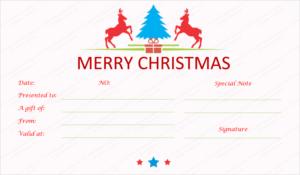 Prancing Reindeer Christmas Gift Certificate Template inside Fresh Merry Christmas Gift Certificate Templates