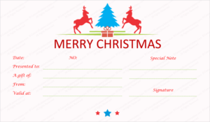 Prancing Reindeer Christmas Gift Certificate Template with Homemade Christmas Gift Certificates Templates
