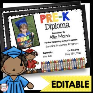 Pre-K Diplomas – Editable – Chalkboard – Prek – Pk Certificates Graduation within Unique Editable Pre K Graduation Certificates