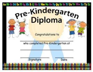Pre Kindergarten Graduation Diplomas, Blank Graduation Inside Quality Pre Kindergarten Diplomas Templates Printable Free