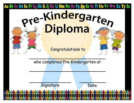 Pre-Kindergarten Graduation Diplomas, Blank Graduation inside Quality Pre Kindergarten Diplomas Templates Printable Free