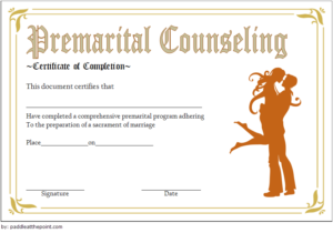 Pre Marriage Counseling Certificate Template Free Printable for Best Premarital Counseling Certificate Of Completion Template