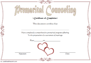 Pre Marriage Counseling Certificate Template Free Printable intended for Best Premarital Counseling Certificate Of Completion Template