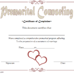 Pre Marriage Counseling Certificate Template Free Printable With Quality Marriage Counseling Certificate Template