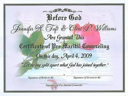 Premarital Certificate Of Completion Template | Certificate In Quality Marriage Counseling Certificate Template