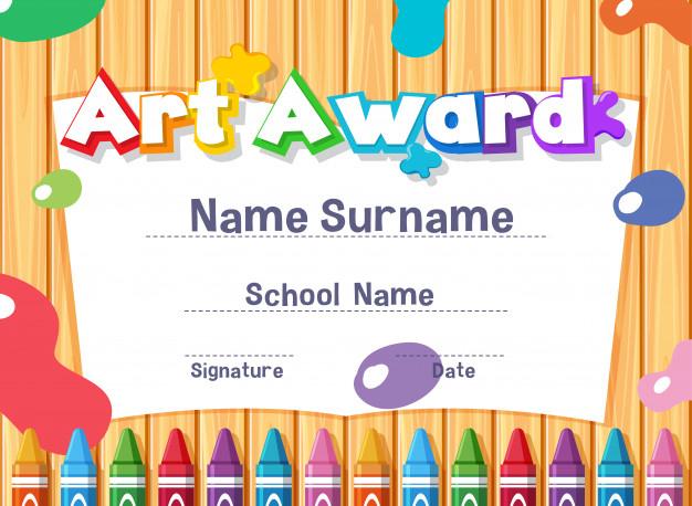 Premium Vector | Certificate Template For Art Award With Paints for Art Certificate Template Free