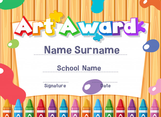 Premium Vector | Certificate Template For Art Award With Paints in Quality Art Award Certificate Template
