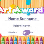 Premium Vector | Certificate Template For Art Award With Paints Pertaining To Free Art Certificate Templates
