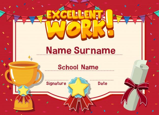 Premium Vector | Certificate Template For Excellent Work throughout Great Work Certificate Template